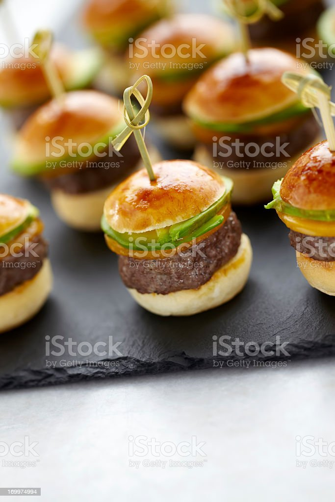 Hamburger canapes stock photo