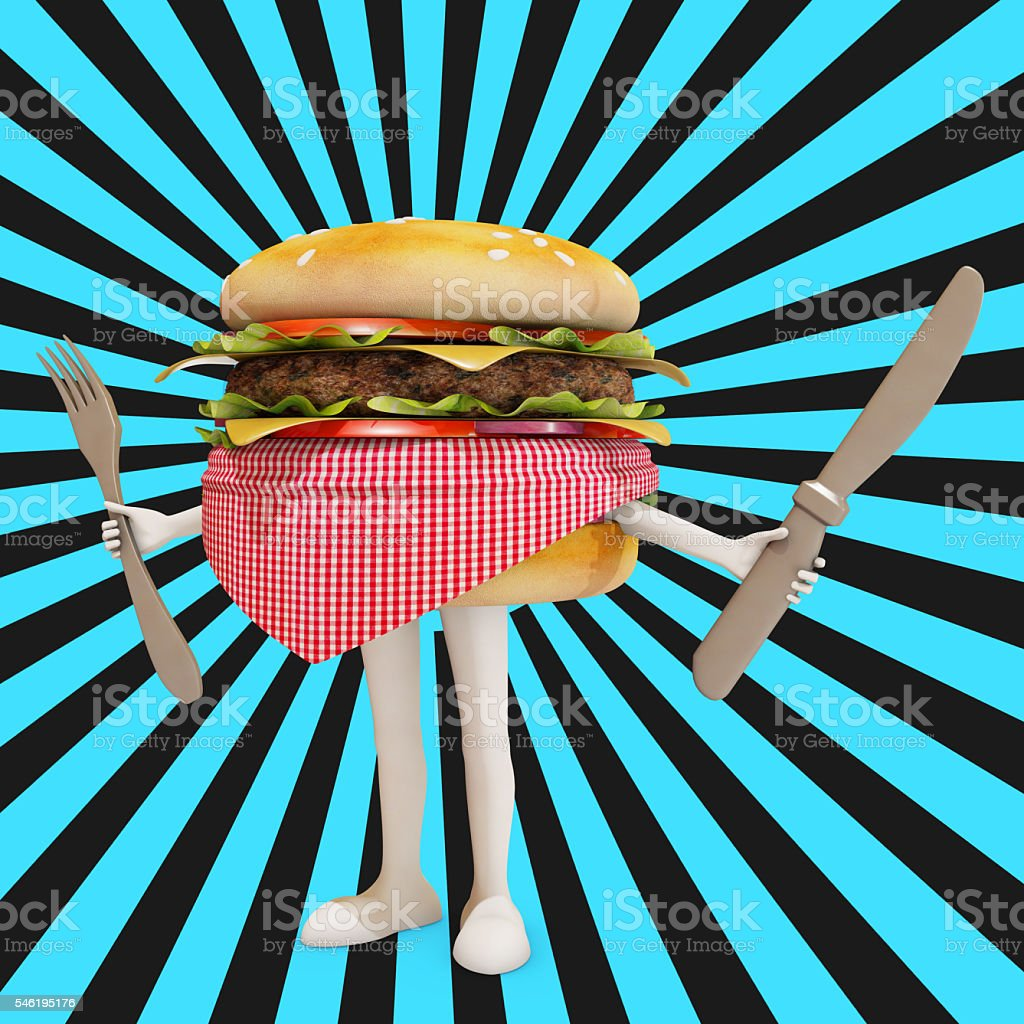 hamburger carachter with black and blue background, 3d rendering stock photo