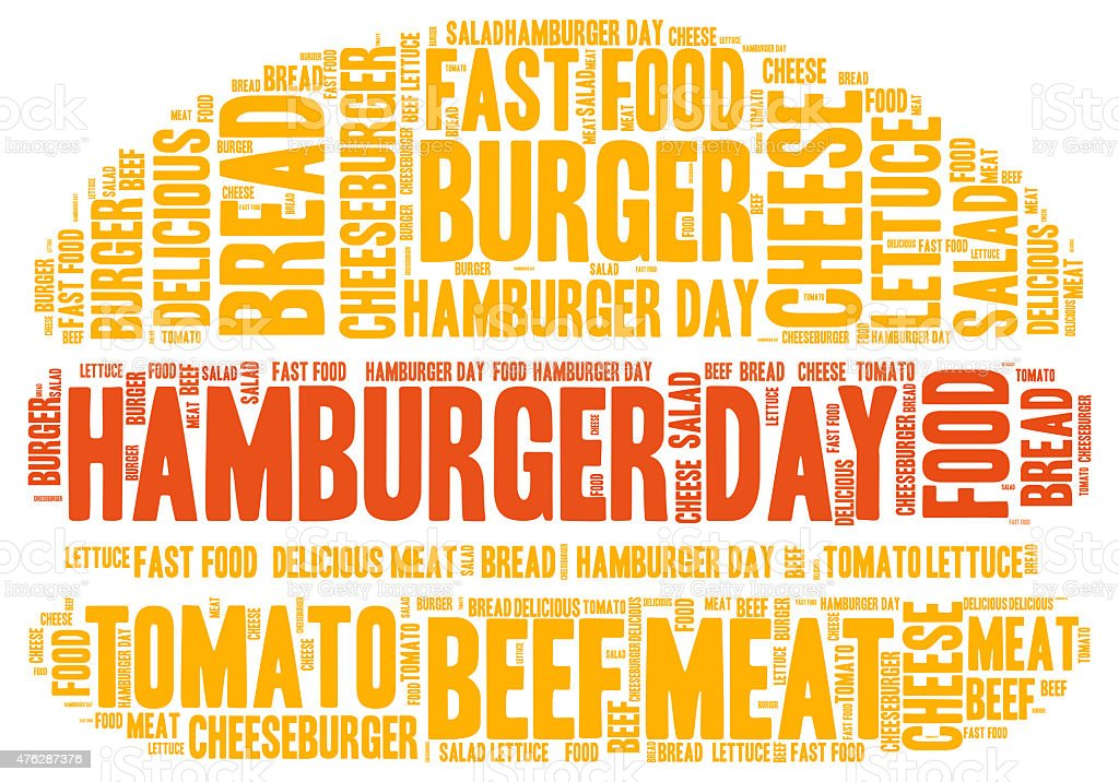 Hamburger day concept - word cloud vector art illustration