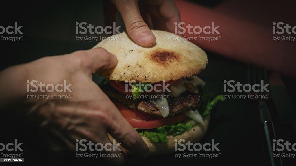 Hamburger for lunch stock photo