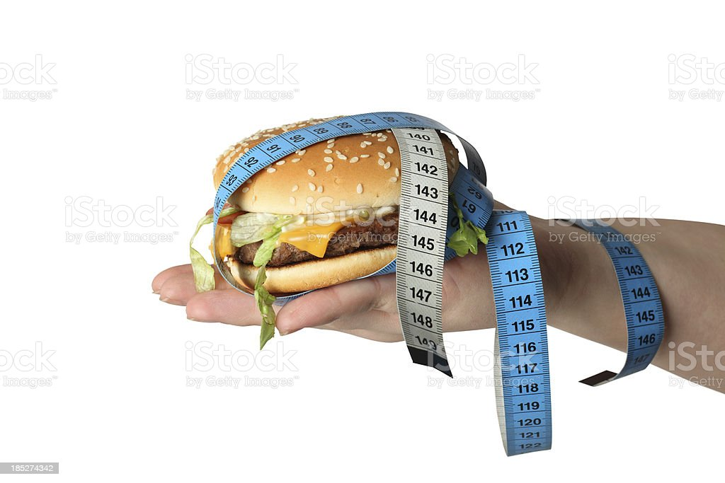 Hamburger for weight watchers  clipping path stock photo