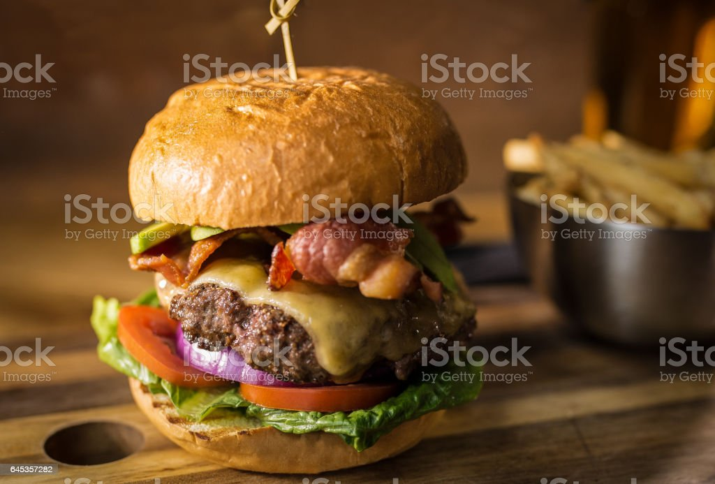 Hamburger Fries and Beer stock photo
