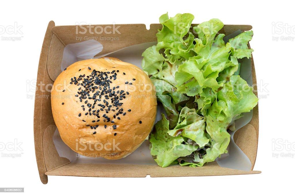 hamburger in paper box on white background stock photo