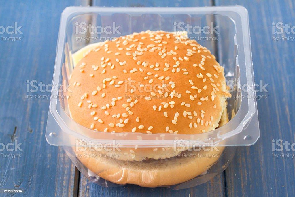 hamburger in plastic box stock photo