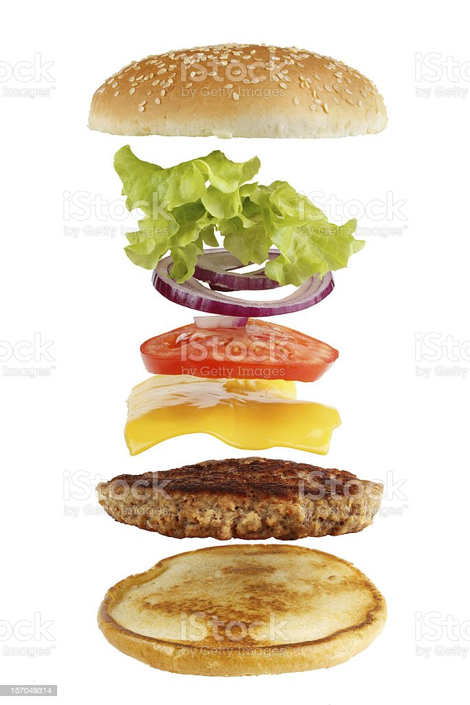 Hamburger ingredients separated in the air royalty-free stock photo