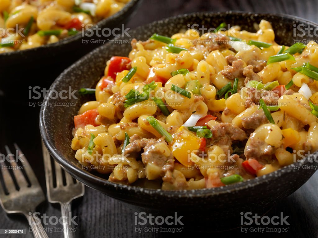 Hamburger Macaroni and Cheese stock photo