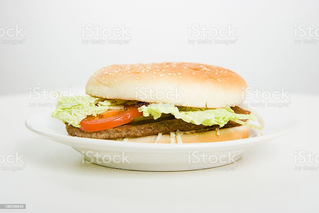 hamburger on a plate royalty-free stock photo