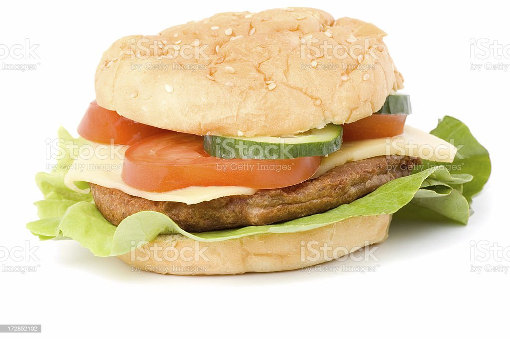 Hamburger on white with shadow royalty-free stock photo