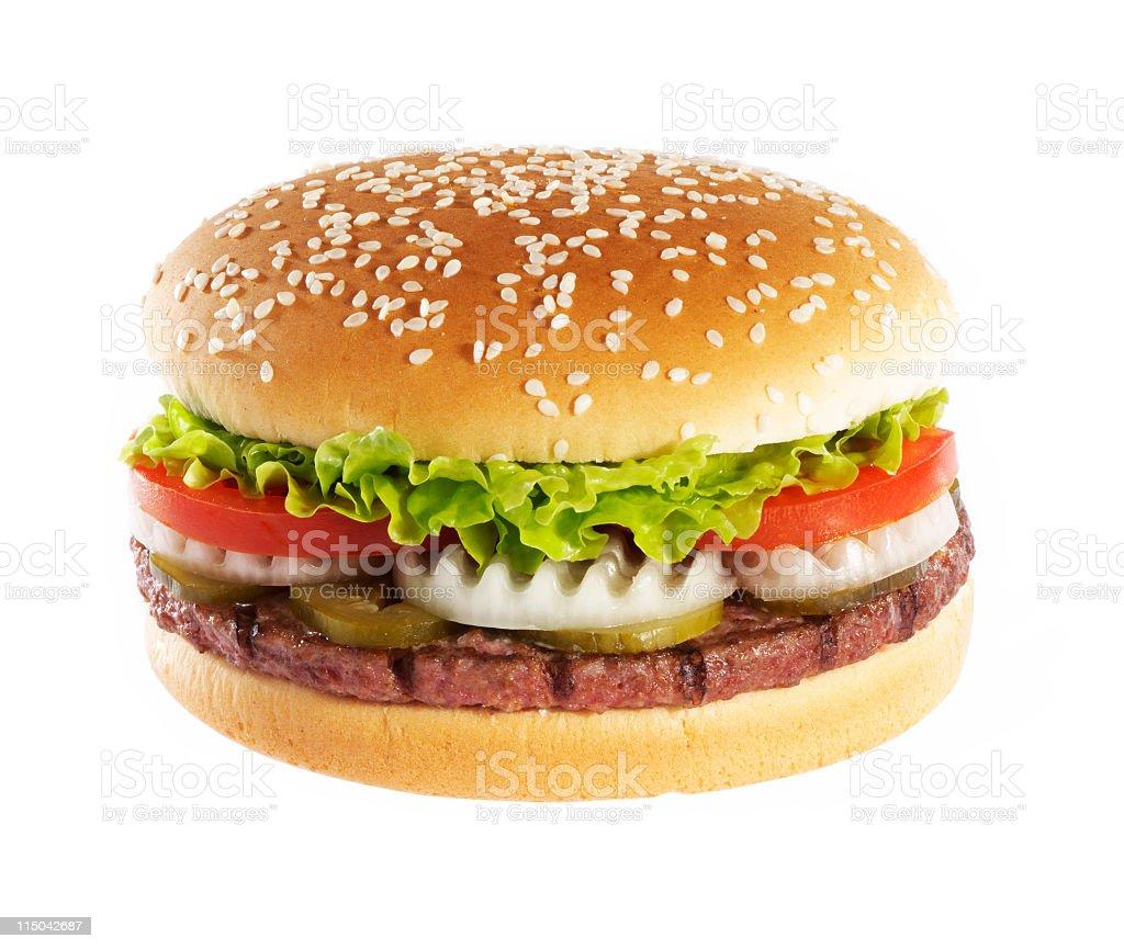 Hamburger over white background stock photo