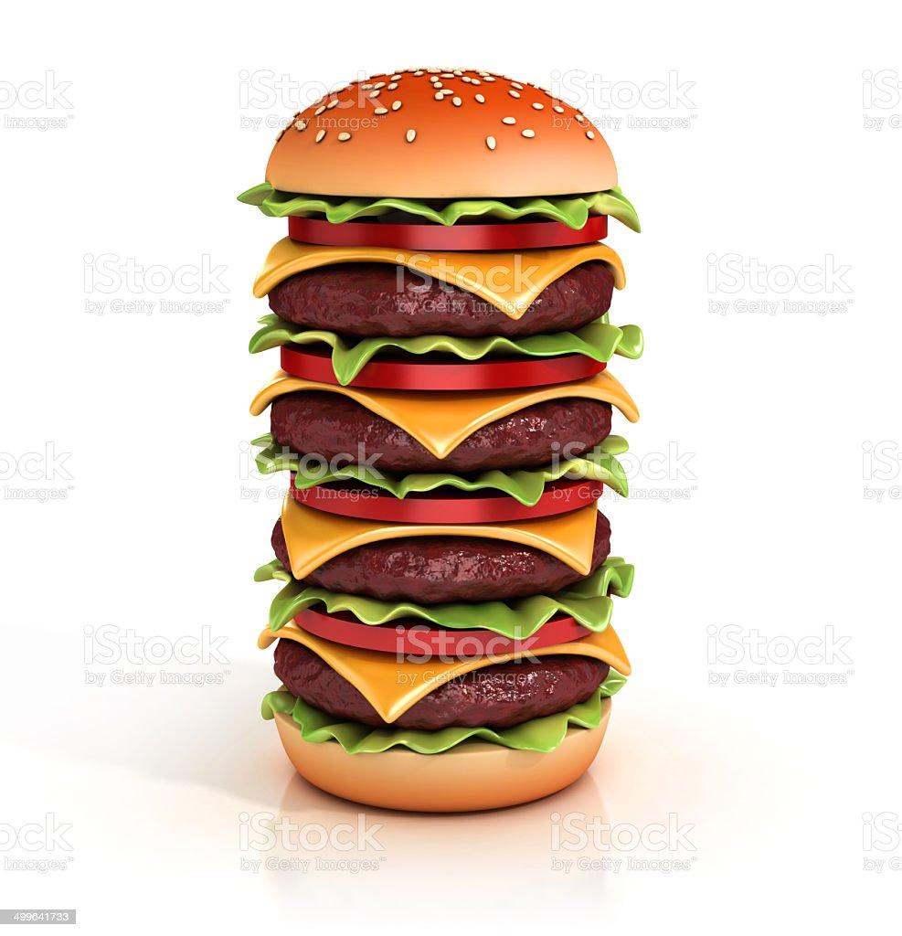 hamburger tower 3d illustration stock photo