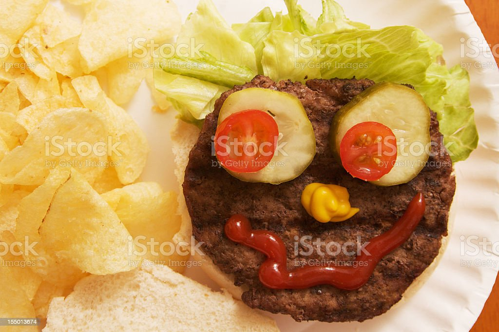 Hamburger with a Funny Face royalty-free stock photo