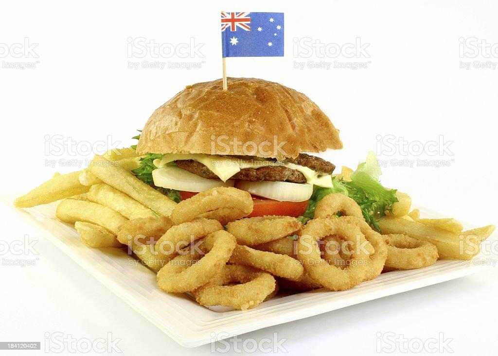 hamburger with australian flag royalty-free stock photo