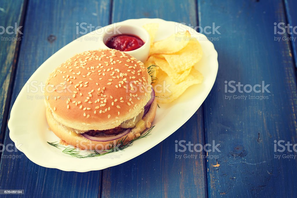 hamburger with chips and sauce on white dish stock photo