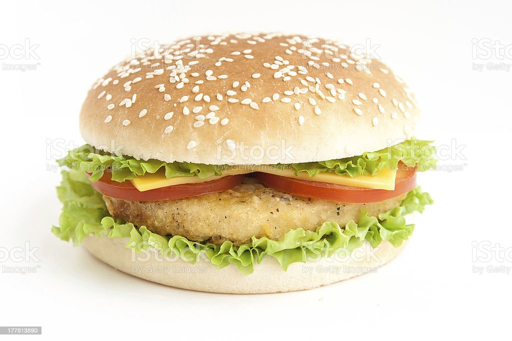 hamburger with cutlet and vegetables royalty-free stock photo