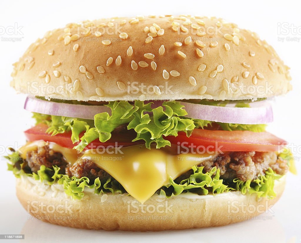 Hamburger with everything on it royalty-free stock photo