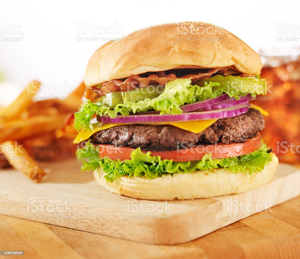 hamburger with french fries and soft drink stock photo