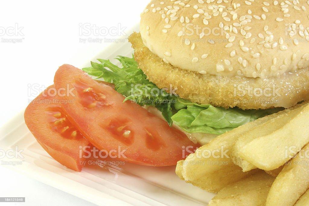 hamburger with fries royalty-free stock photo