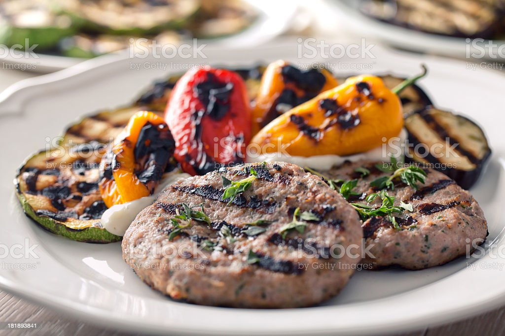 Hamburger with grilled mixed vegetables royalty-free stock photo