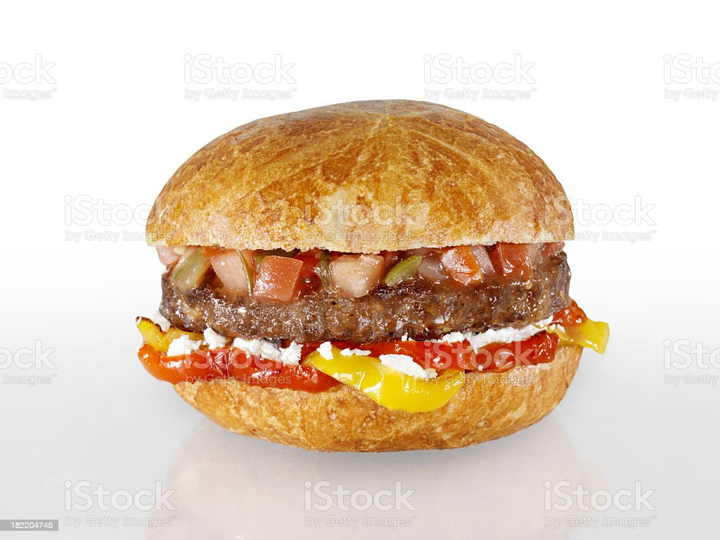 Hamburger with Grilled Peppers and Salsa royalty-free stock photo