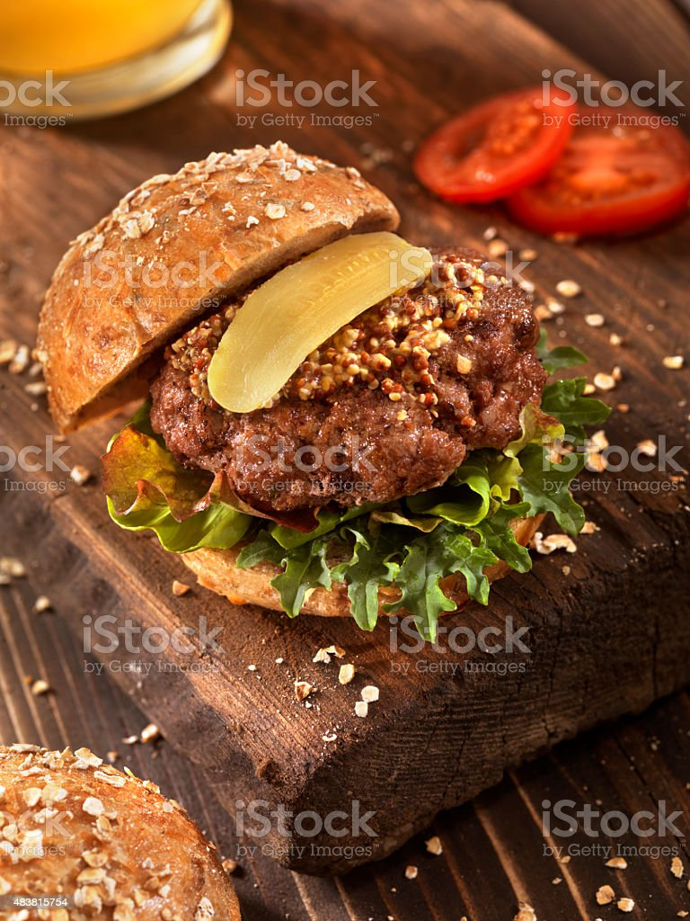 Hamburger With Micro Greens, and a Beer stock photo