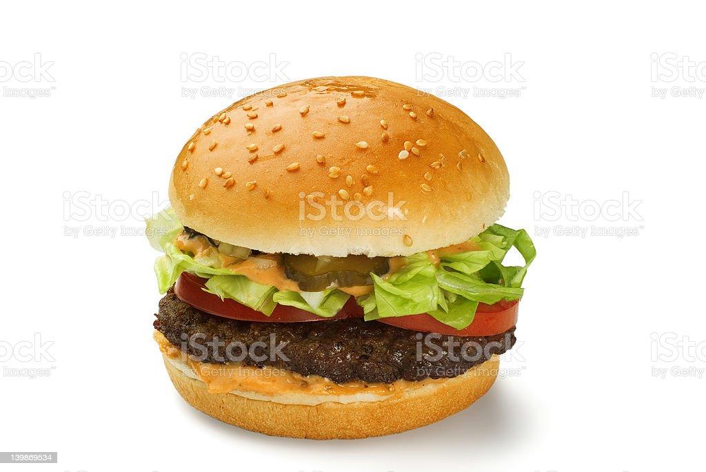 Hamburger with mustard royalty-free stock photo