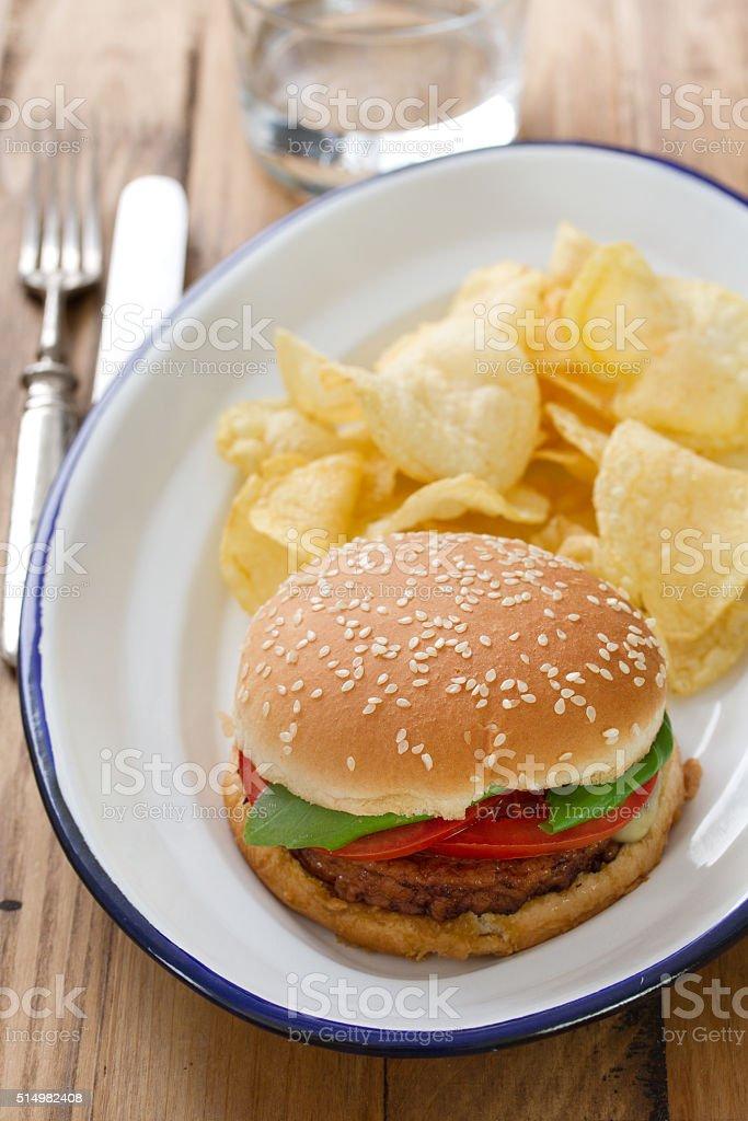 hamburger with potato chips stock photo