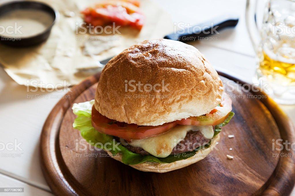 hamburger with tomato and cheese stock photo