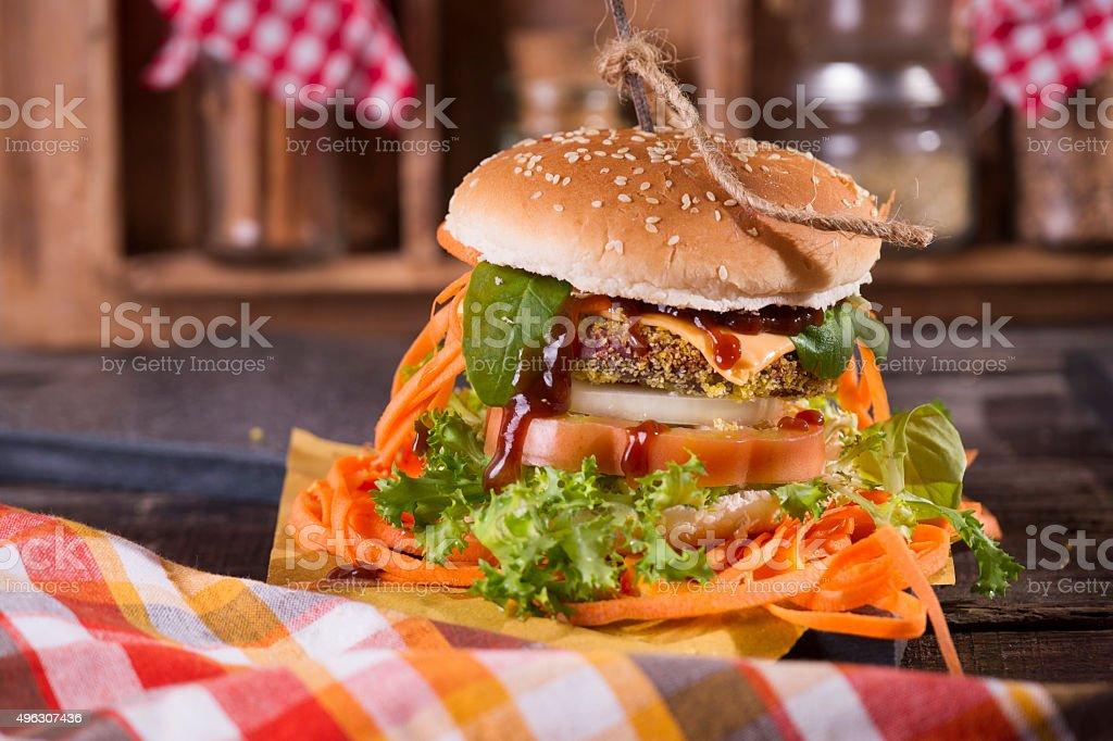 Hamburger with vegetables stock photo
