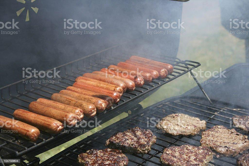 Hamburgers and Hot Dogs stock photo