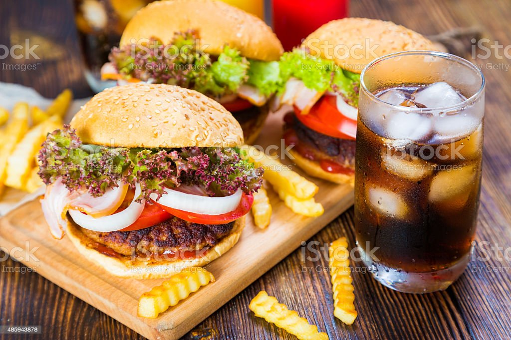 Hamburgers, french fries and cola. fast food stock photo