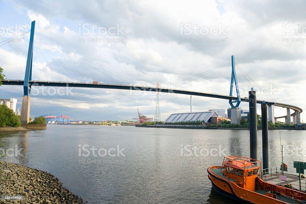 Hamburg,view of Koehlbrand bridge at Koehlbrand river stock photo