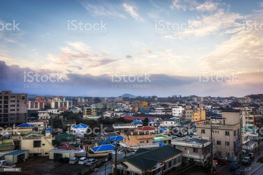 Hamdeok Seoubong beach town during sunrise stock photo