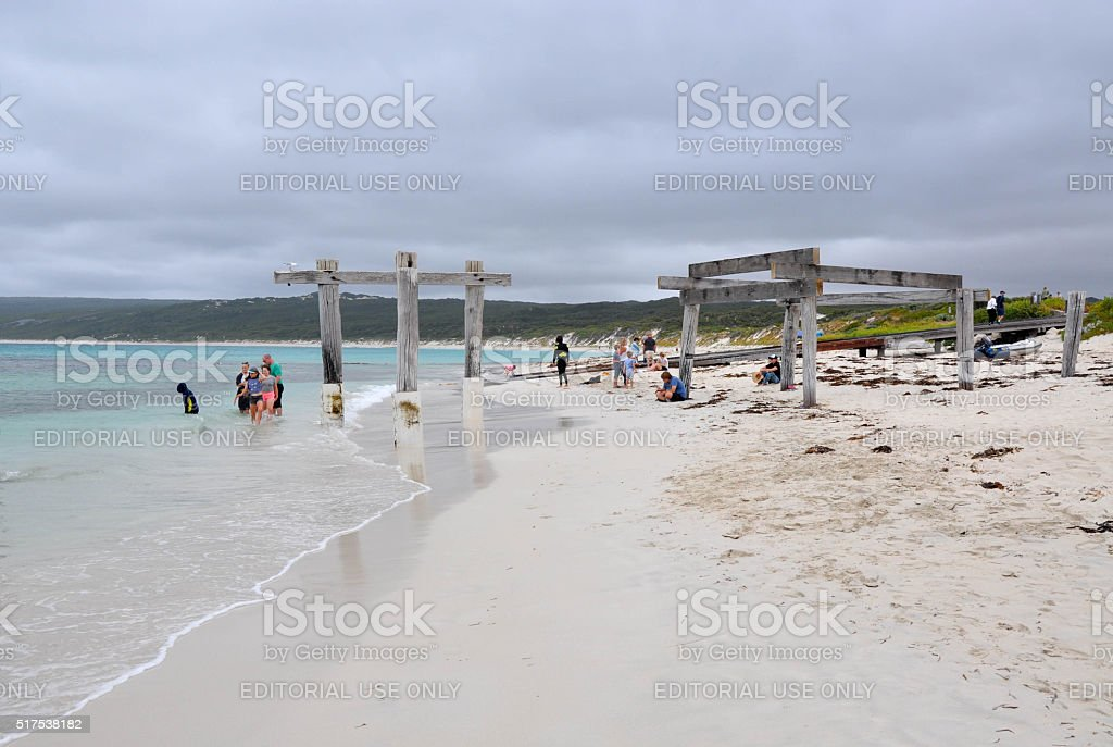 Hamelin Bay: Jetty Remains and Sting Ray Attraction stock photo