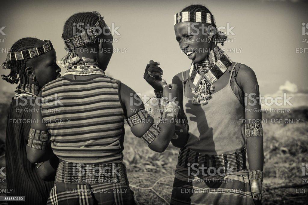 Hamer girls, Turmi, Ethiopia stock photo