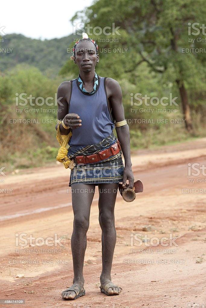 Hamer man (Lower Omo valley, Ehiopia). stock photo