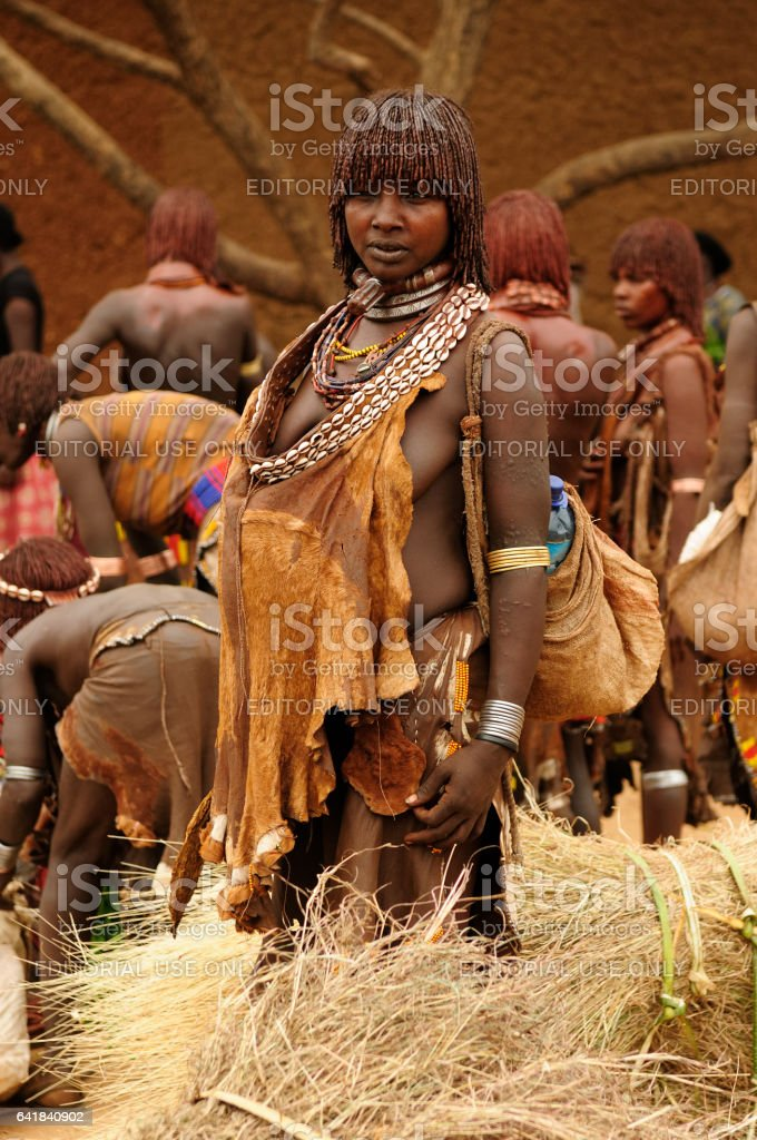 Hamer people on the local marketplace in Turmi stock photo