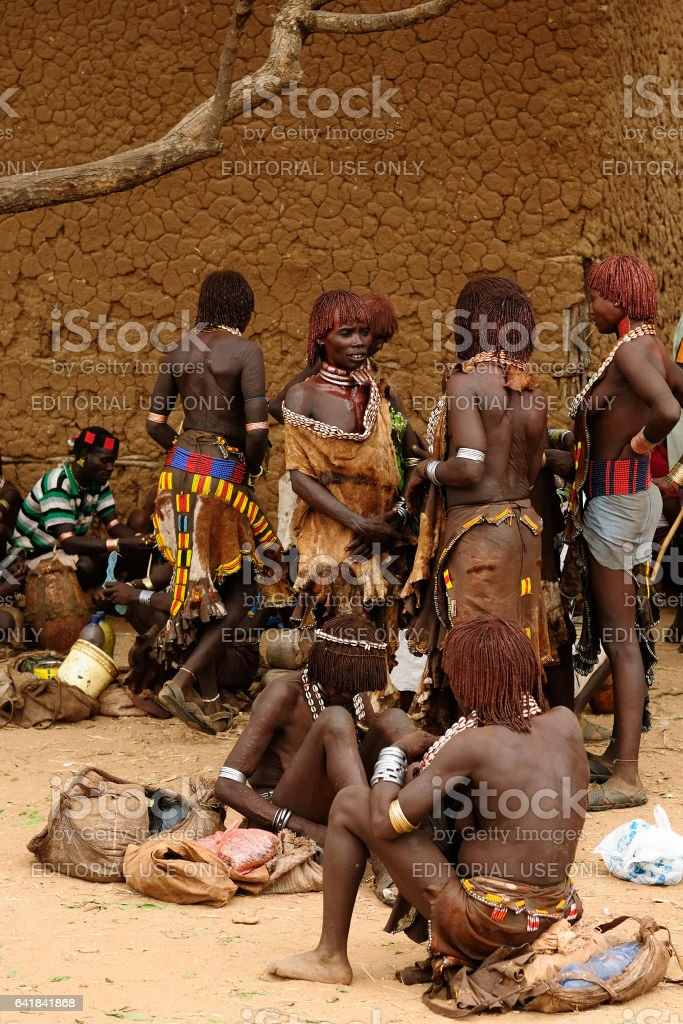 Hamer people on the market stock photo