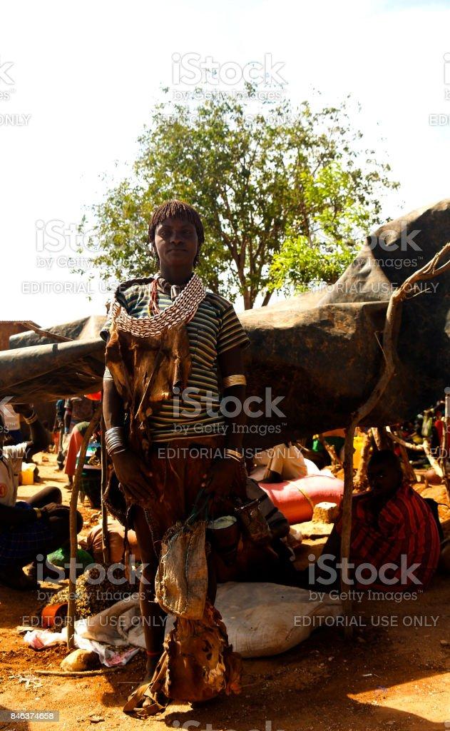 Hamer tribe girls Omo valley, Ethiopia stock photo