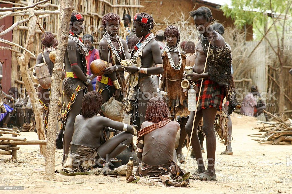 Hamer tribe people at the market in Turmi stock photo