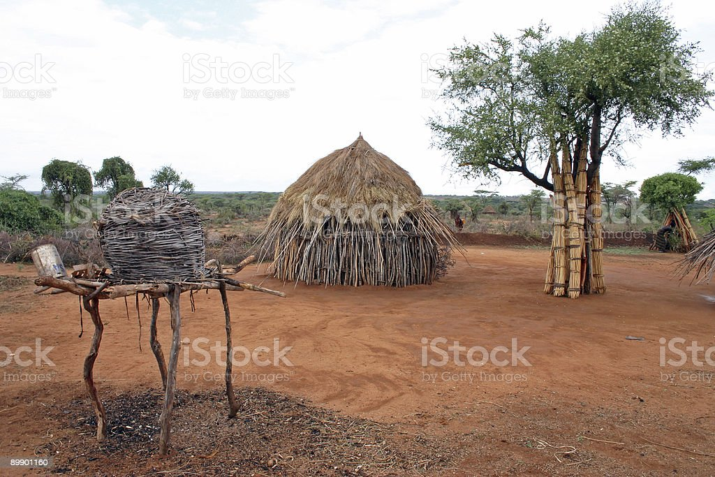 Hamer tribe village stock photo