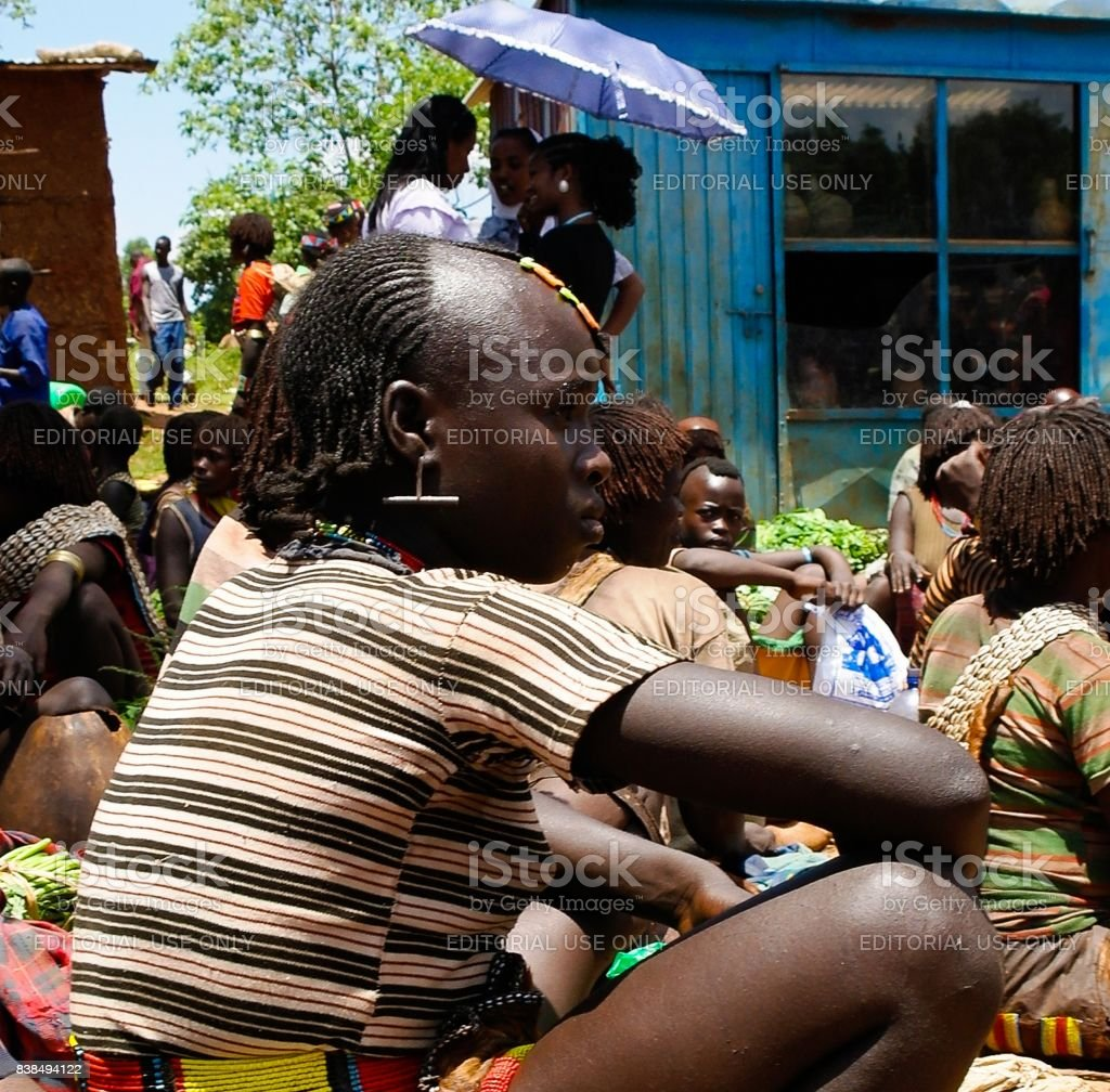 Hamer tribe woman- Omo valley, Ethiopia stock photo