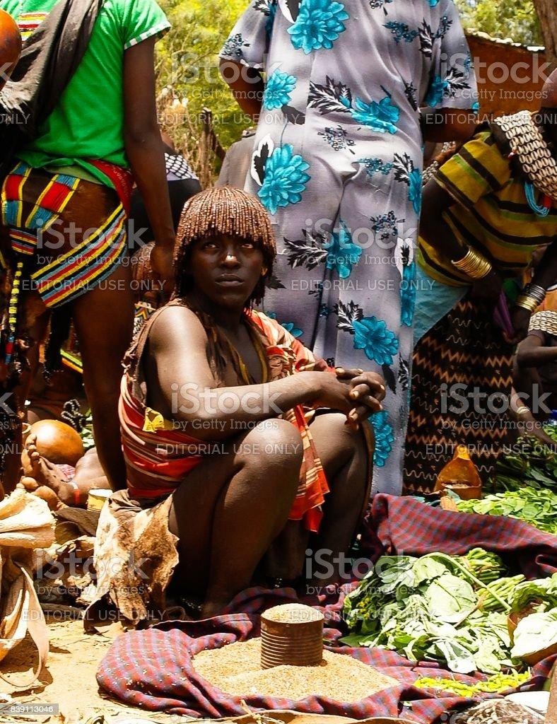 Hamer tribe woman - Omo valley, Ethiopia stock photo