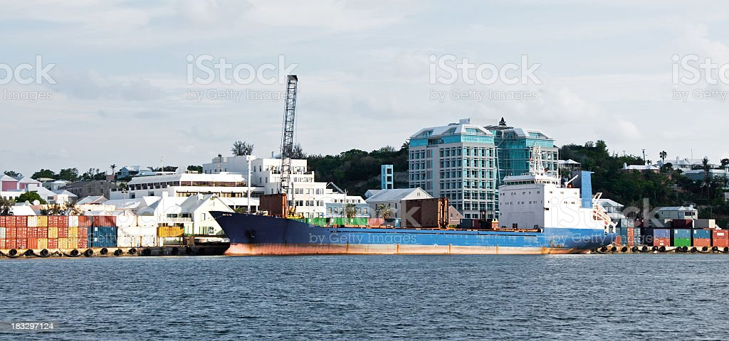 Hamilton, Bermuda, Commericial Pier and Feighter stock photo
