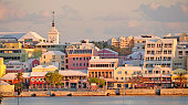 Hamilton, Bermuda... Sunset on the waterfront and Front Street.