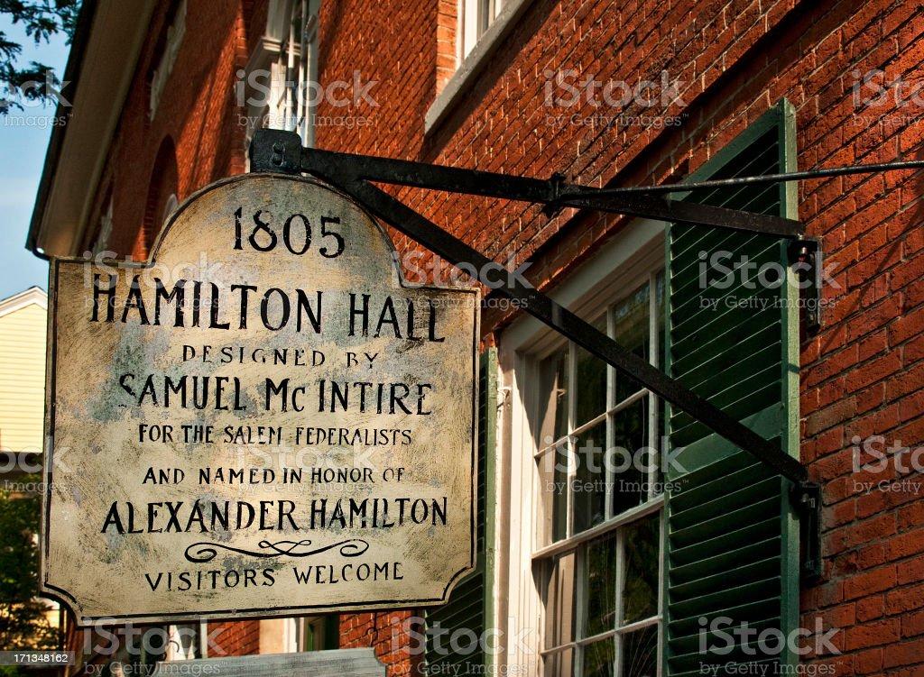 Hamilton Hall, Salem, Massachusetts, Historical Building stock photo