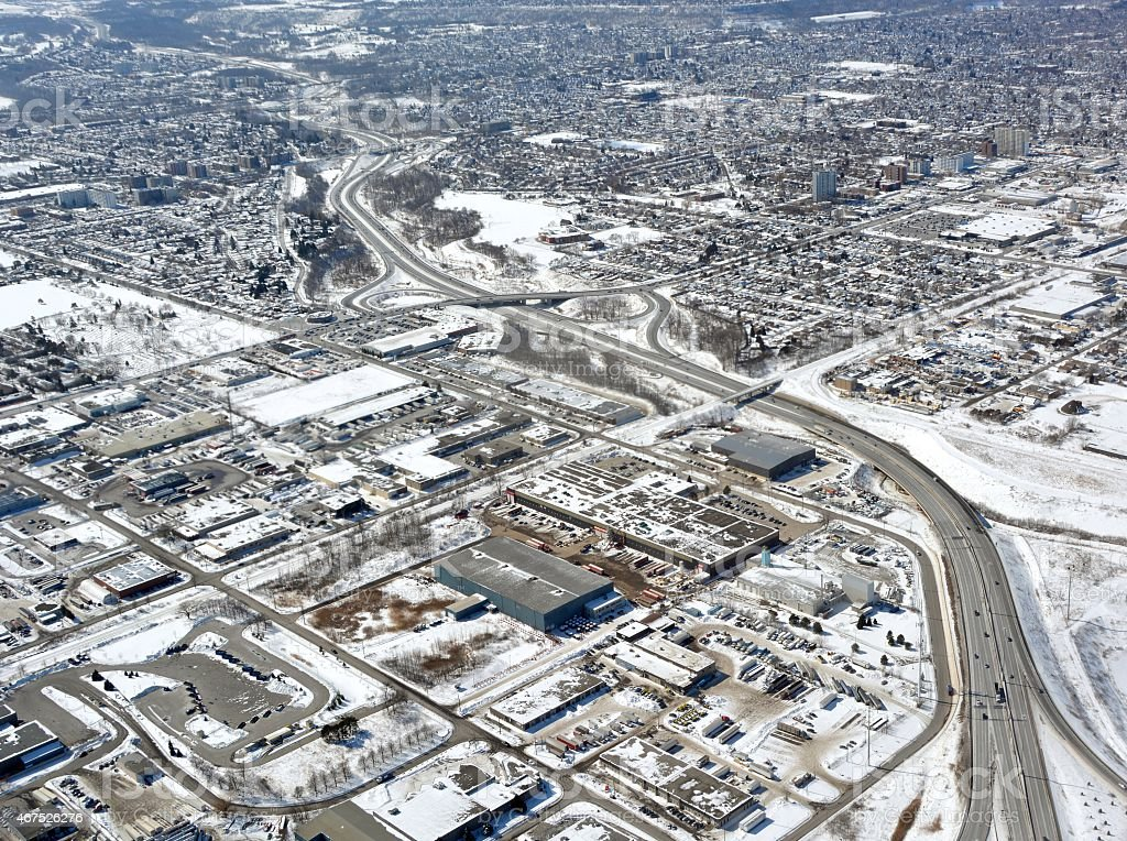 Hamilton Ontario, Winter aerial stock photo