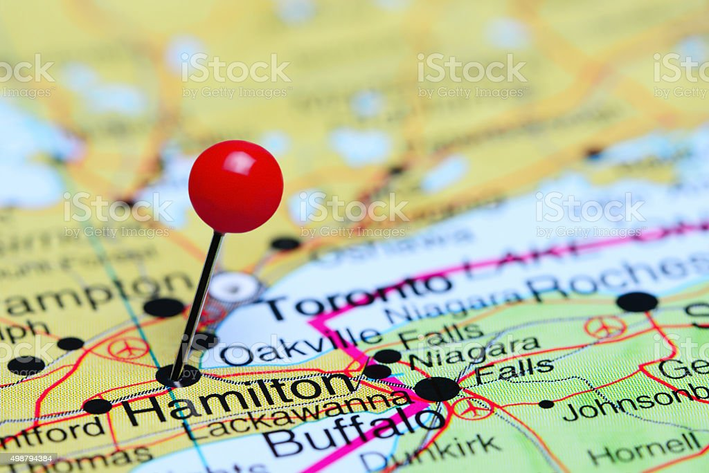 Hamilton pinned on a map of Canada stock photo