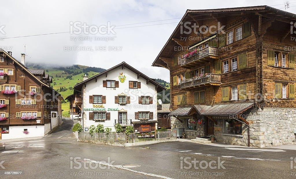 Hamlet Brigels in Swiss Alps stock photo