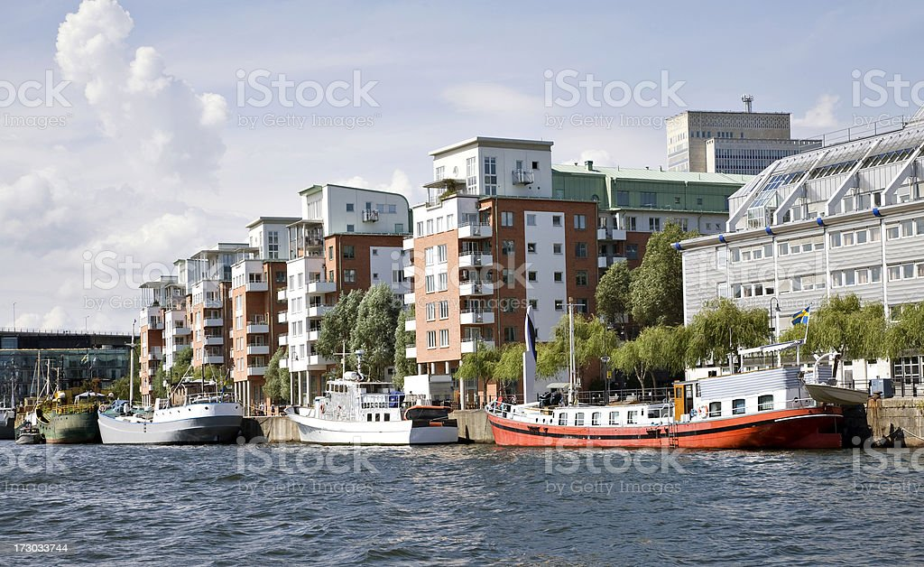 Hammarby Canal in Stockholm royalty-free stock photo