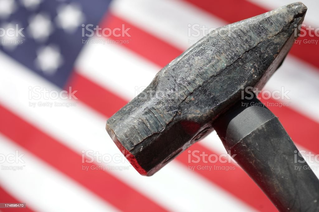 Hammer and American Flag stock photo